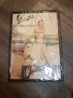 Classic Vespa poster with wooden frame