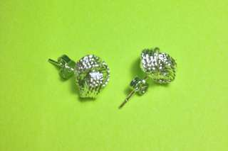 silver-plated mesh ball stud earrings