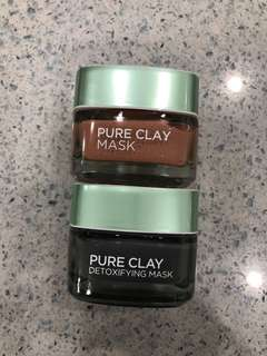 LOREAL Pure clay mask x 2 (detoxifying mask, red clay mask)