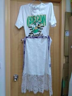 🚚 美式白T蕾絲洋裝