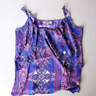 Cotton On Blue and Pink Patterned Top