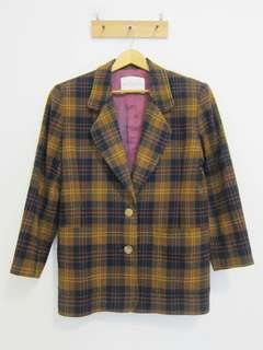 古著。復古。格紋80%羊毛🐏外套