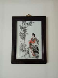 Vintage Plaque hand painted beautiful lady sitting on the rock with frame size 44x33cm perfect condition