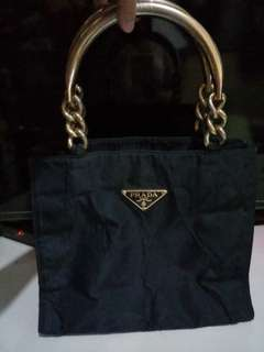 Prada tessuto nylon with metal handle