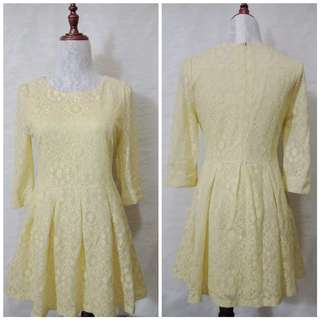 Pleated Yellow Lace Dress