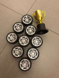Wheels and trophy decoration