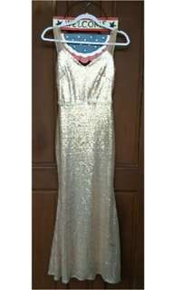 Gold Long Gown With Free False Eyelashes!!