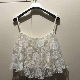 White lacy croptop