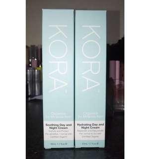 Kora organics - soothing day & night cream 50ml and hydrating day & night cream 50ml.