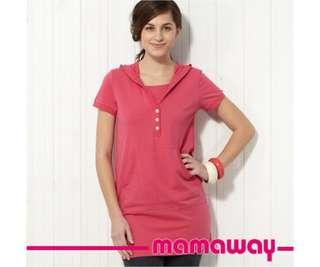 媽媽餵 Mamaway 連帽長版哺乳衣孕婦裝