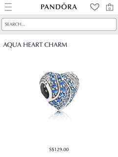 Authentic Pandora Aqua Heart Charm PO