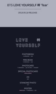 PRE-ORDER BTS LOVE YOURSELF TEAR Y/O/U/R ver