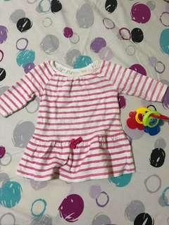 Pink Striped Mini Dress 3-6 mos