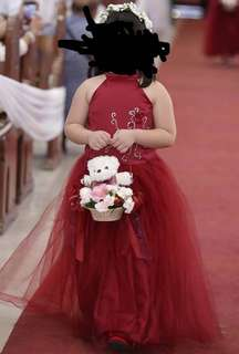 burgundy flower girl gown