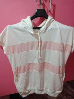 Pink and white stripes hoodie shirt w/ pocket on both side