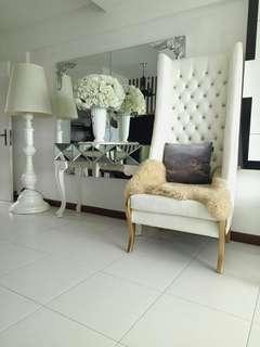 Tall off white chair