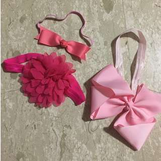 Baby girl hair ribbon accessories pink