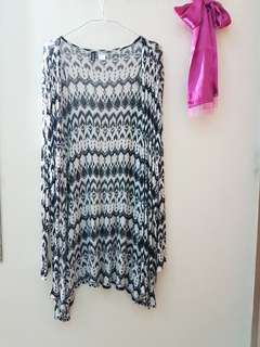 H&M BLACK AND WHITE LONG CARDIGAN OUTER