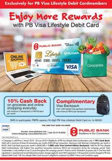 Cash Back for PB Visa Lifestyle Debit Card