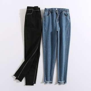 (XL~5XL) 2018 Korean version of high waist elastic flash nine feet jeans