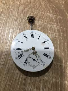 Old pocket watch without casing working