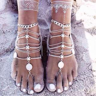 Boho beach multi-layer coin tassel chain anklet