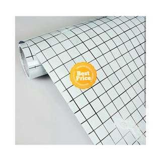 Grosir murah wallpaper sticker dapur dan kamar mandi kotak putih garis hitam emas
