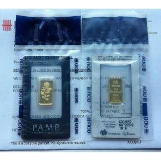 ★ PAMP SUISSE Rose - 2x 10 Grams (20g) 24K 9999 Fine Gold Ingot bars. OMP, UOB sealed