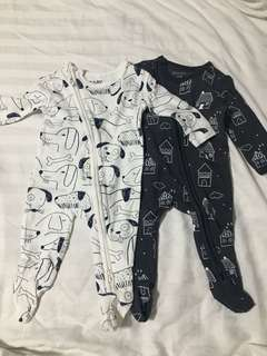 Cotton On Frogsuits 0-3M