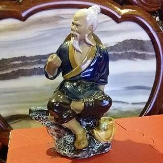 "Chinese Vintage Porcelain Fisherman  7 1/4"" Tall"