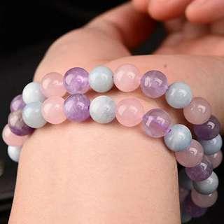 多寳手串 馬粉晶 海藍寳 紫水晶 7.5-8 5mm