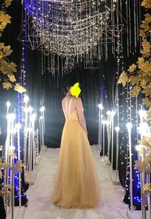 Yellow Long Gown with low back for Rent