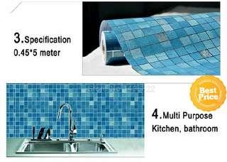 Grosir murah wallpaper sticker dapur dan kamar mandi kotak biru garis silver