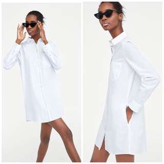 🚚 OshareGirl 04 歐美女士純色金屬亮邊裝飾襯衫式連身裙長版上衣