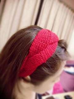 寬毛線髮帶(紅)