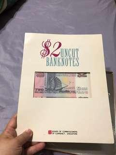 Uncut $2 notes
