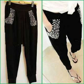 Black Cotton Blend With Beads Pants