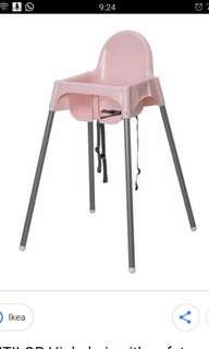 Pink IKEA high chair
