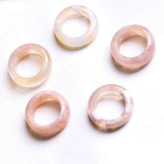 櫻花瑪瑙戒指 15mm
