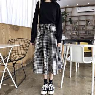 韓系排扣格子裙