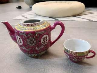結婚用品 喜字 囍字 敬茶套裝 景德鎮 奉茶 古董 特别 經典