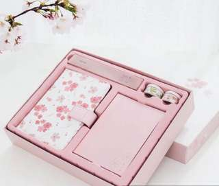 Japanase Sakura Pink PU Leather Planner Notebook Gift Set