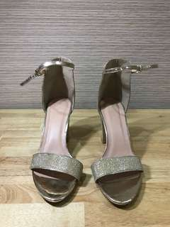 Lady Rustan Gold Strapped Heels