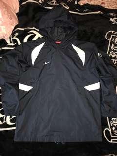 古著 Nike 頭套式 連帽 尼龍 大勾 撞色拼接 休閒上衣
