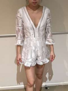 White lace play suit