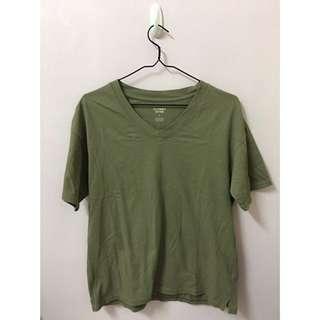 轉賣日貨連線KIKI日本品牌專櫃LOWRYS FARM LF加州純棉V領好搭休閒 短袖T恤橄欖綠 軍綠素面基本款素T