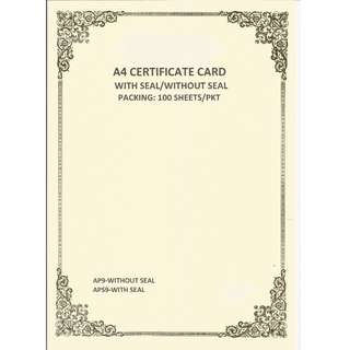 Certificate Card AP9, AP10, AP11.