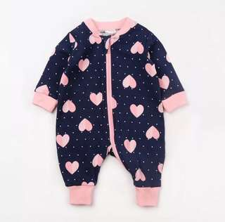 Baby hearts romper suits