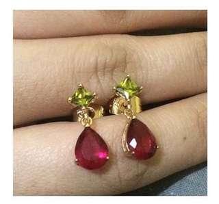 Preloved Earrings ( Ruby/Peridot stone)