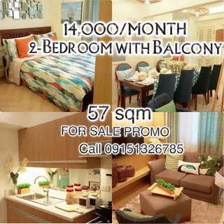 2 Bedroom 57sqm with balcony for Sale in Cubao Quezon City (NO SPOT DOWNPAYMENT REQUIRED)